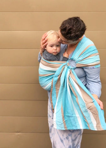 Ring Sling - Hoppediz Blue White Brown Brest