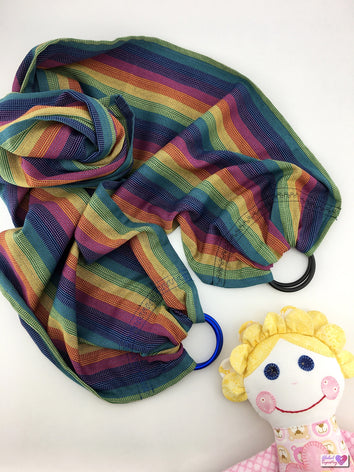 Doll Ring Sling - Blue Rainbow