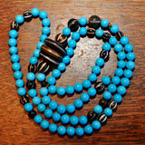 RH 258 Himalayan Style 108 Bead Mala of Ancient Pyu Beads and Vintage Persian Turquoise
