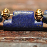 AS 114 Beautifully Designed Old and Ancient Lapis Necklace, with Amulets and 18K Gold Beads(India)