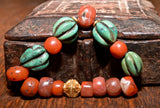 RH 250 Antique Melon Turquoise Beads with Pema Raka and Gold Bracelet