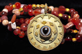 AS 112 Strand of Ancient Patinized Carnelian with 18K Etruscan Style Pendant