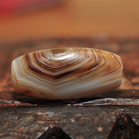 AA 307 Fine Banded Ancient Agate Tabular Eye Bead