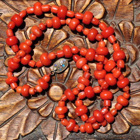 AC 104 Antique Salmon/Red Natural Coral Necklace-China-52grams