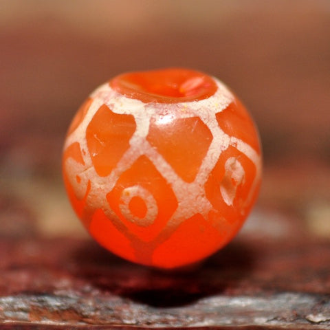 EC 109 Etched Carnelian Longevity Design Bead with Eyes