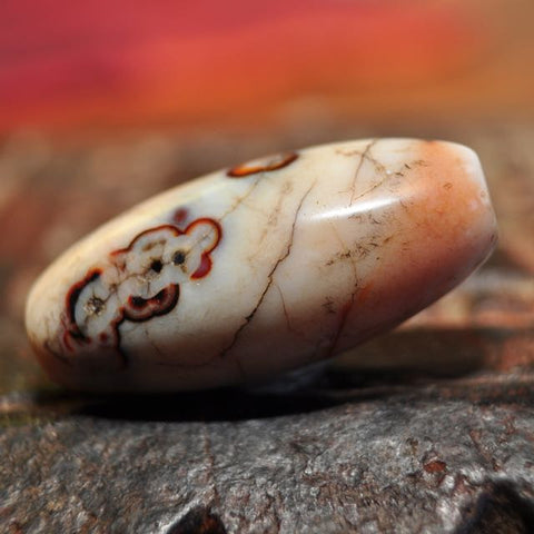 RH 215 Exceptionally Beautiful Large Patinized Stone Bead from the Himalayas