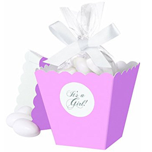 Wilton it 39 s a girl pink baby shower treat favor popcorn boxes 25 with ribbon ebay - Wilton baby shower favors ...