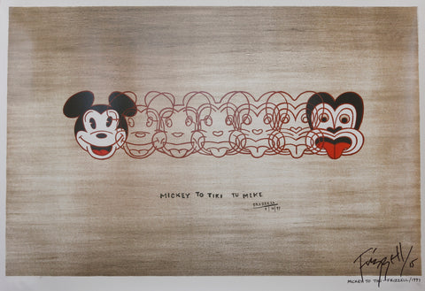 Hand-signed 'Mickey to Tiki Tu Meke' print