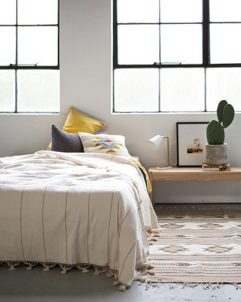 Alma Bed Cover in Natural/Mustard