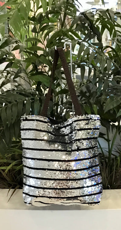 Sequin Bag - Silver with Black Stripes
