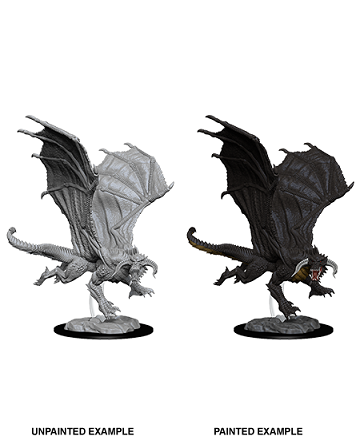 DND UNPAINTED MINIS WV8 YOUNG BLACK DRAGON