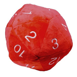 "DICE PLUSH JUMBO 10"" D20 RED W/WHITE"