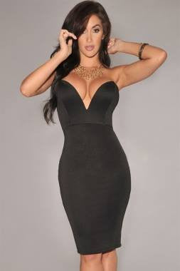 Sexy Black Clubwear V-Neck Dress