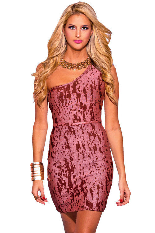 Copper Red Abstract Print Bodycon Bandage Dress
