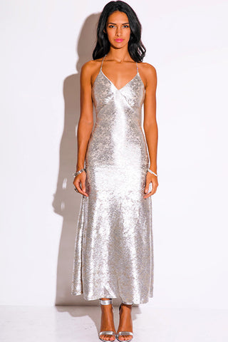 Sexy Silver Metallic Evening Dress