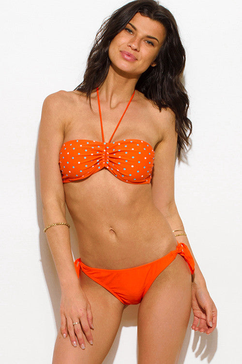 Cute Orange Polka Dot Bandeau Bikini