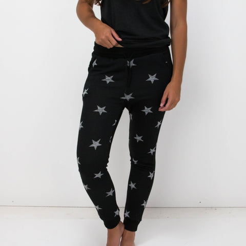 Stars Fleece Lined Joggers with drawstring