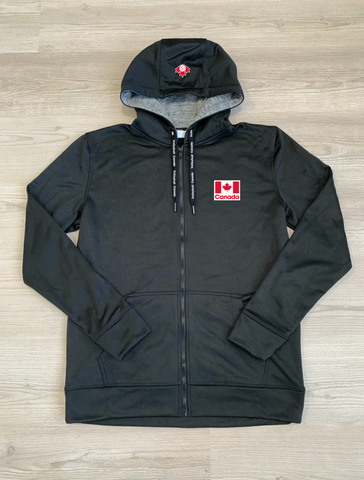 Volleyball Canada Black Full-Zip Hoodie