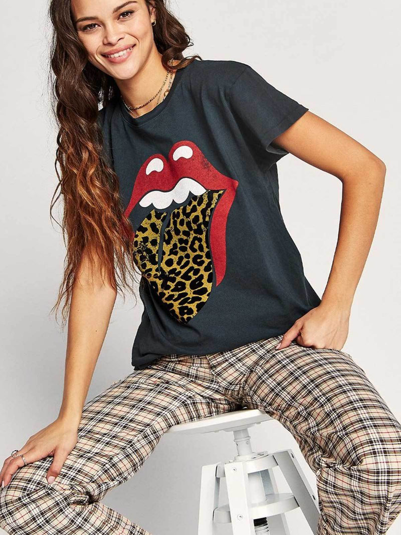 Daydreamer I Rolling Stones Leopard Tongue Tour Tee - Vintage Black I Perlu