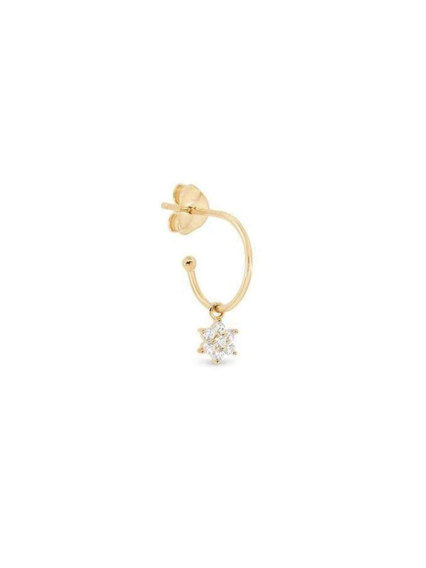 14k Gold Crystal Lotus Flower Hoop - Single Earrings By Charlotte