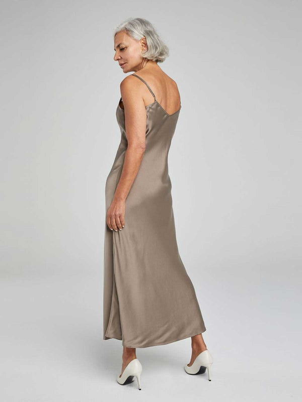 90's Silk Slip Dress - Clay