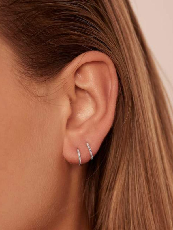 14k White Gold Purity Sleeper - Single (Pair $158) Earrings By Charlotte