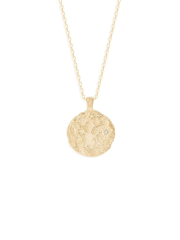 By Charlotte Capricorn Zodiac Necklace Gold | Perlu