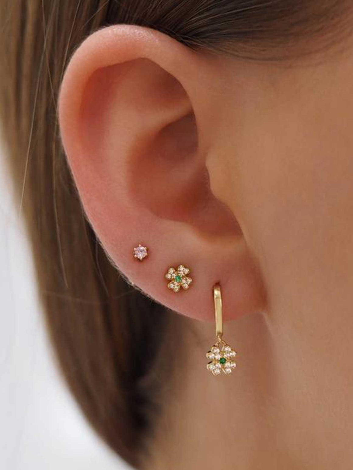 By Charlotte I 14k Gold Clover of Luck Earrings I Perlu