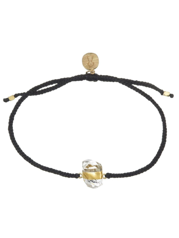 Woven Crystal Bracelet | Gold - Black / Diamond Quartz