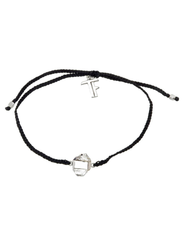 Woven Crystal Bracelet | Silver - Black / Diamond Quartz