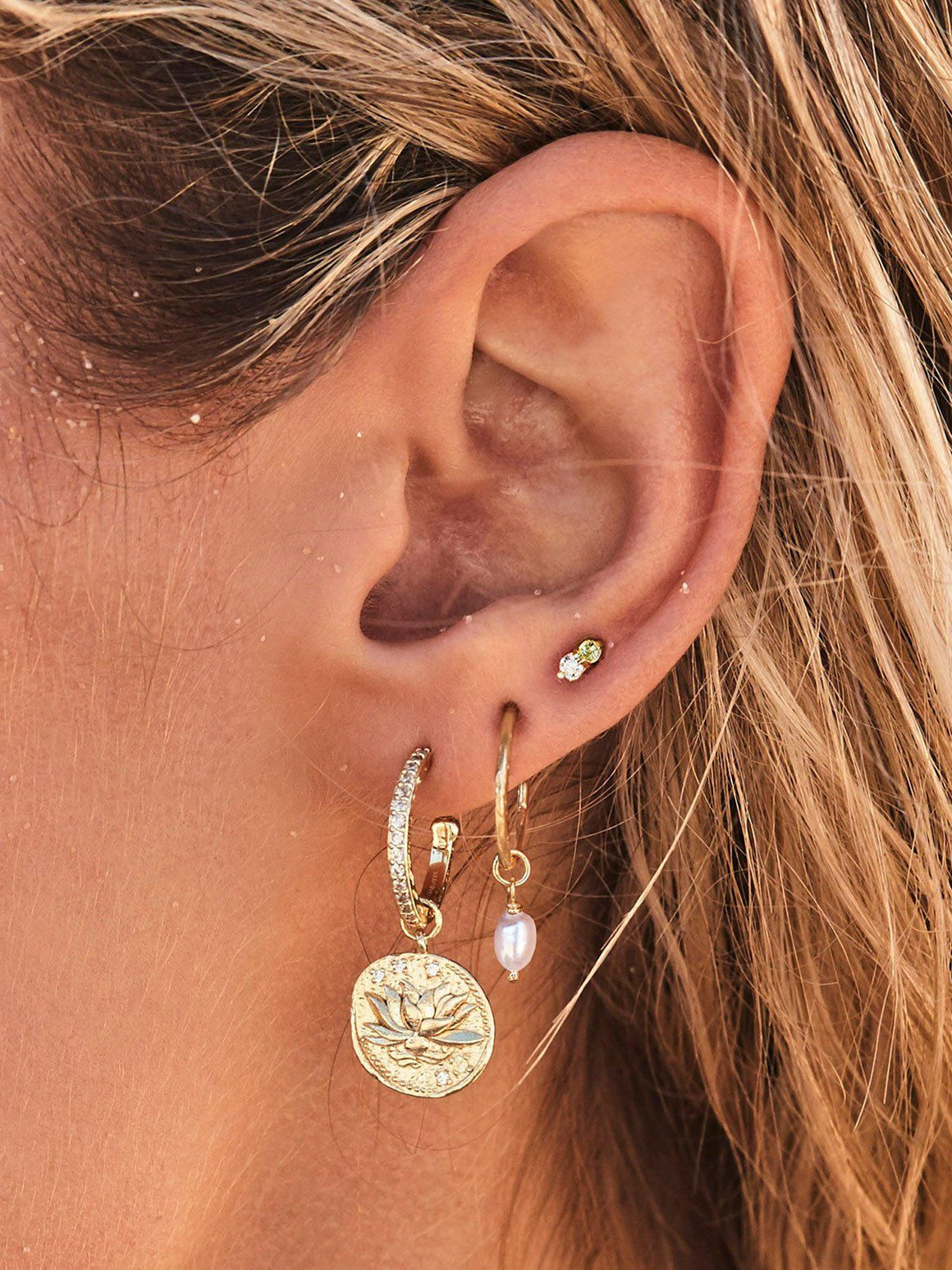 Gold Earth Stud Earrings