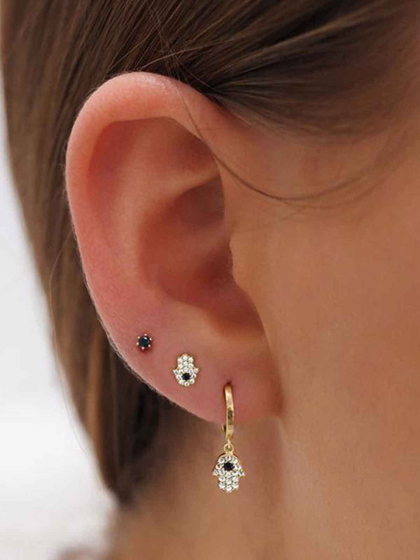 By Charlotte I 14k Gold Hand of Hamsa Earrings I Perlu