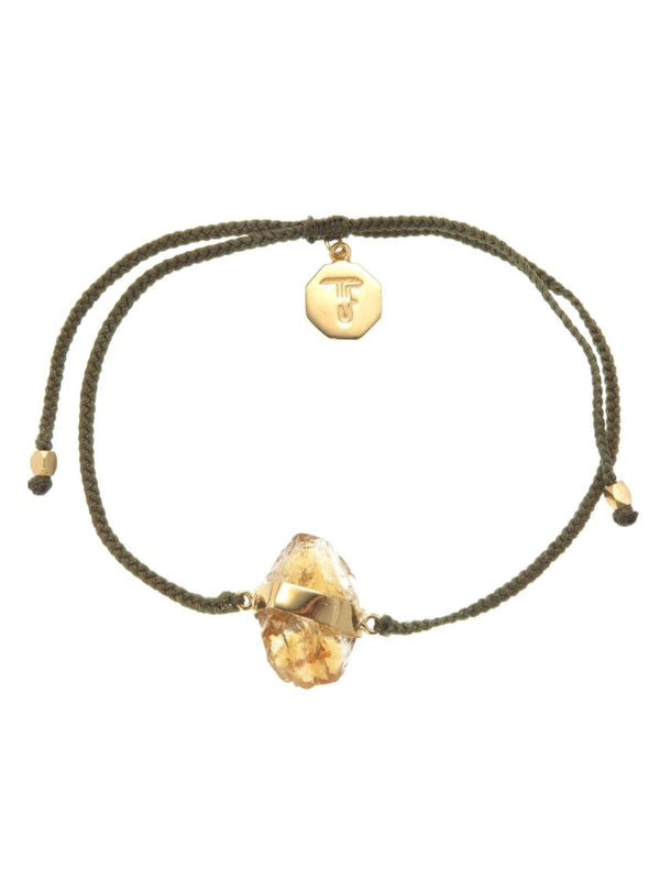 Woven Crystal Bracelet | Gold - Olive Green / Citrine