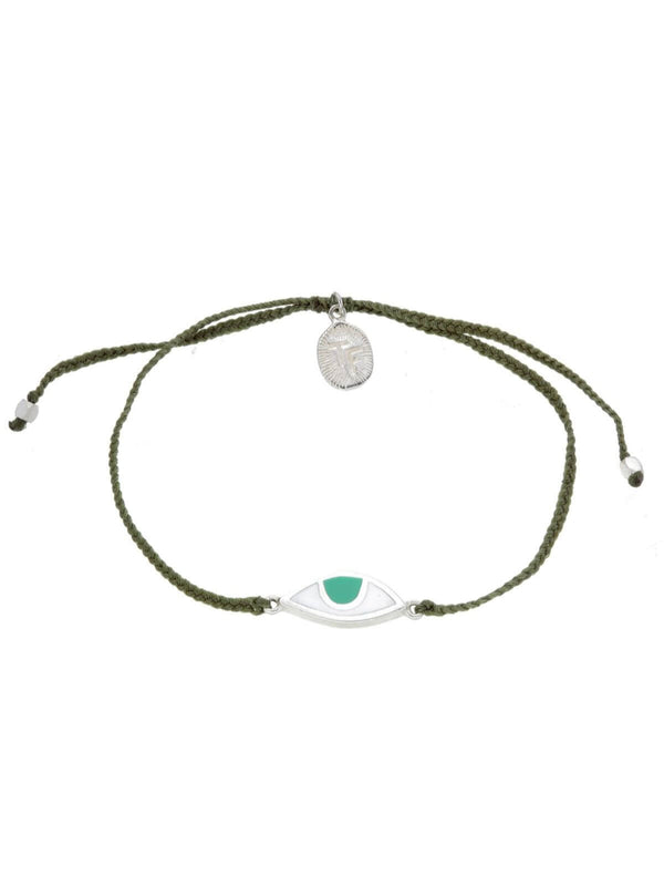 Woven Third Eye Bracelet | Silver - Olive Green