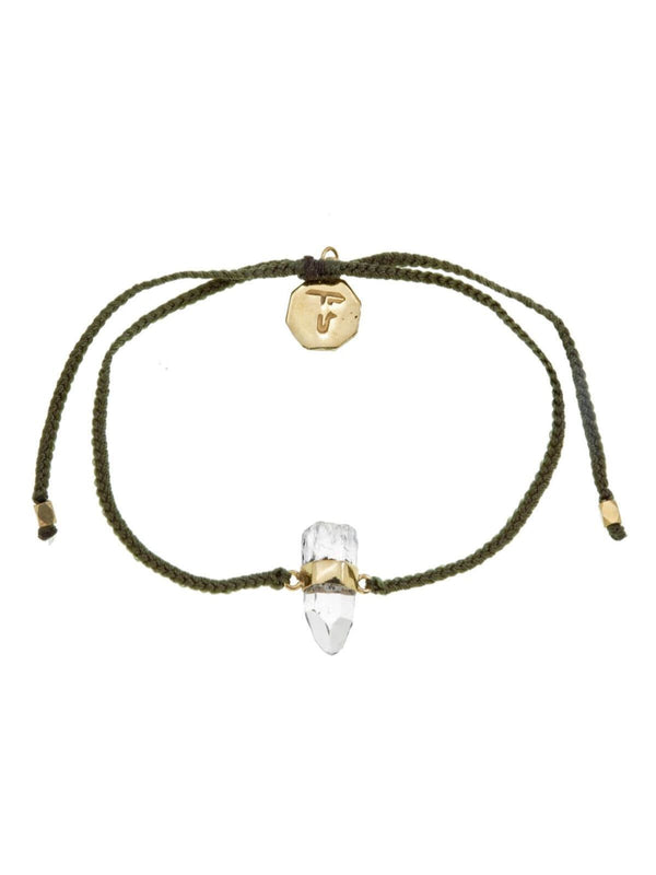 Woven Crystal Bracelet | Gold - Olive Green / Crystal