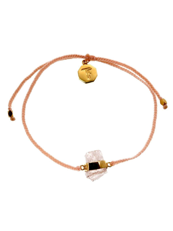 Woven Crystal Bracelet | Gold - Peach / Morganite