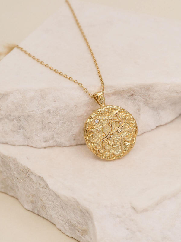 By Charlotte Aquarius Zodiac Necklace Gold | Perlu