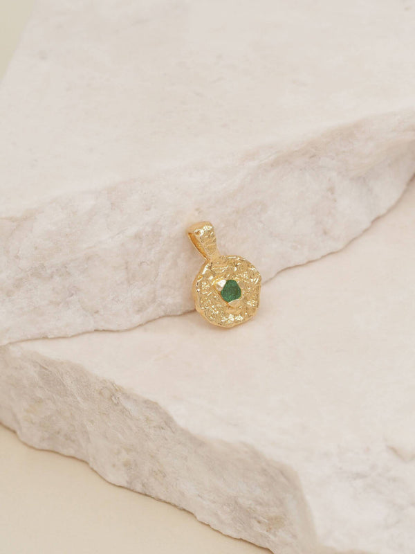 By Charlotte May Emerald Birthstone Pendant - Gold | Perlu