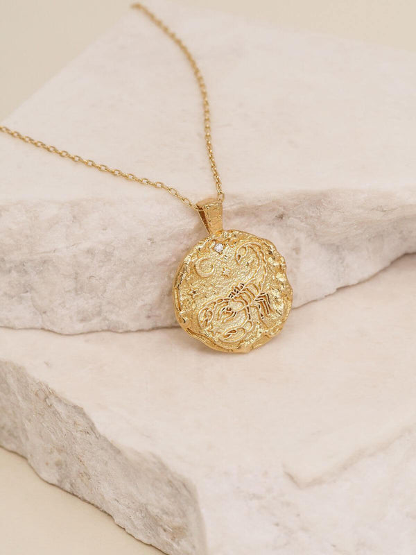 By Charlotte Scorpio Zodiac Necklace Gold | Perlu