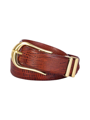 Sancia | The Inga Belt - Antique Tan Lizard | Perlu