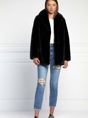 Ena Pelly | Minimalist Faux Fur Jacket - Black | Perlu