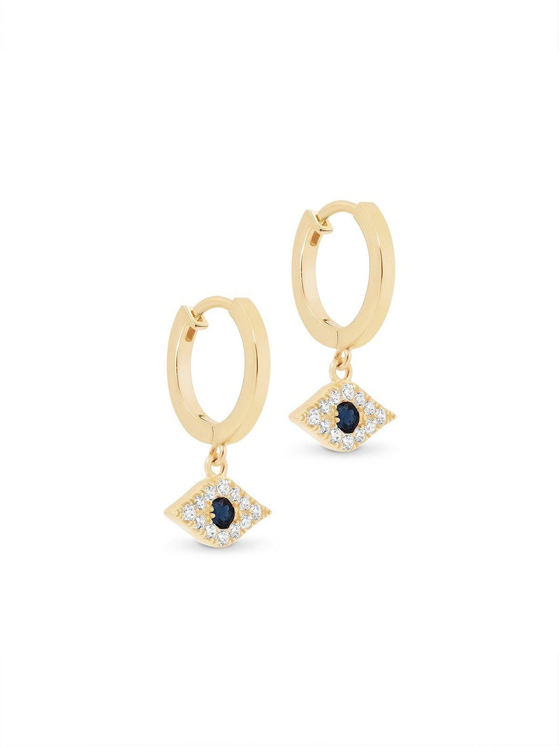By Charlotte I 14k Gold Evil Eye Hoops I Perlu