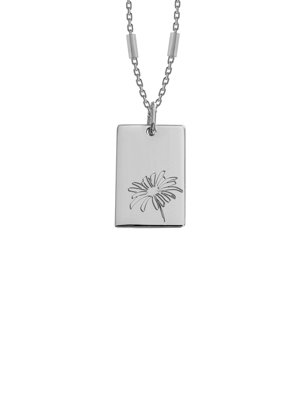 Birth Flower Necklace - April - Silver Necklaces BIANKO