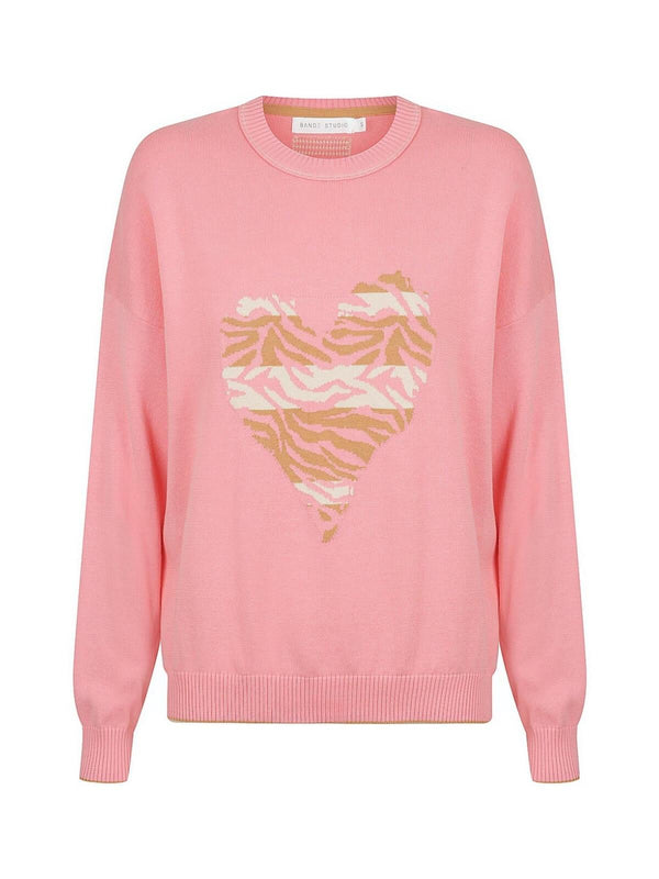 Bande Studio | Animal Heart Knit - Rose Pink | Perlu