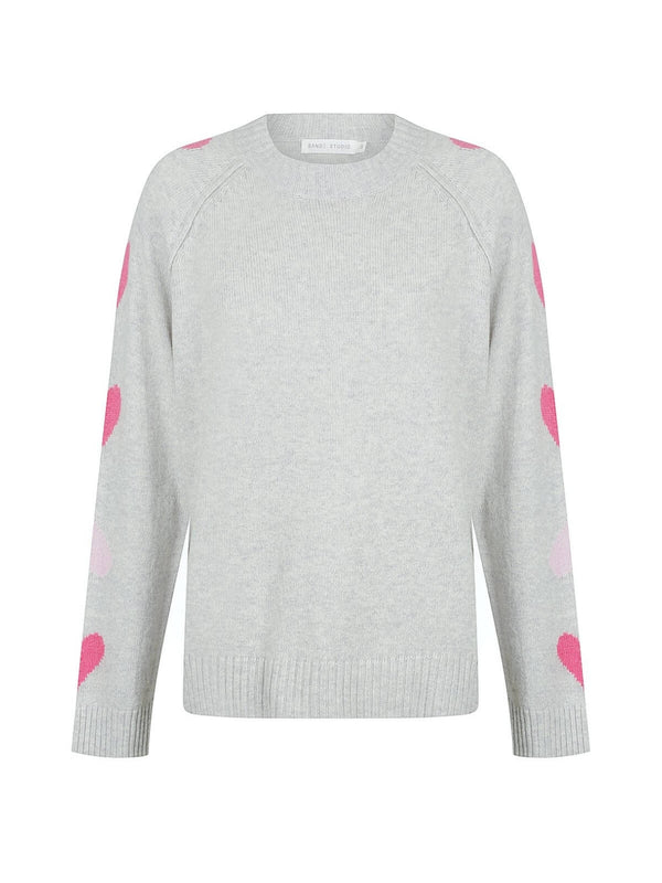 Bande Studio | Heart On Your Sleeve Knit - Pale Grey | Perlu