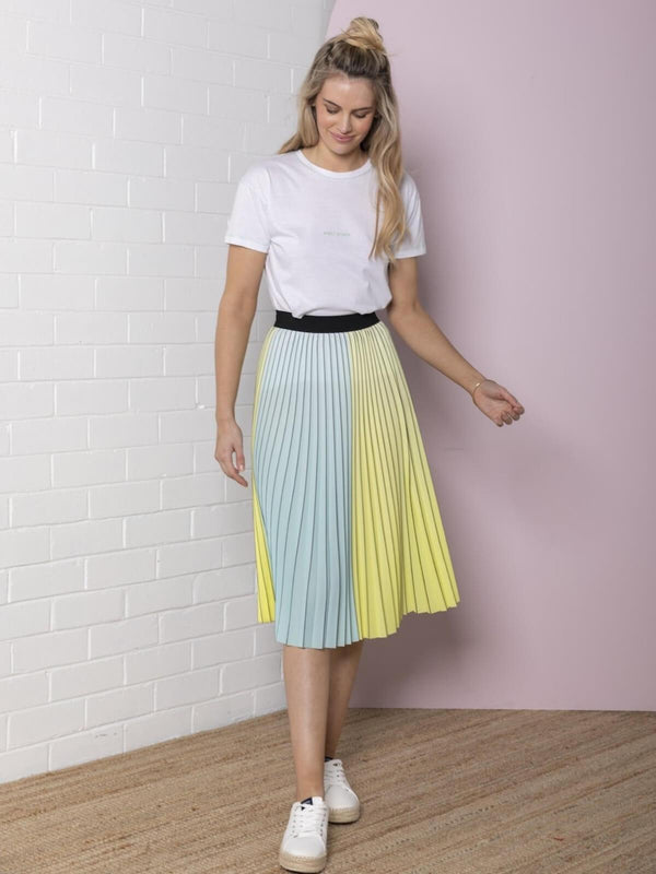 Bande Studio Pleated Colour Block Skirt Lemon/Aqua | Perlu