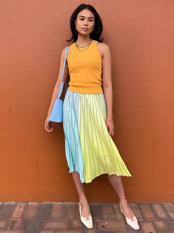 Pleated Colour Block Skirt - Lemon/Aqua Skirts Bande Studio