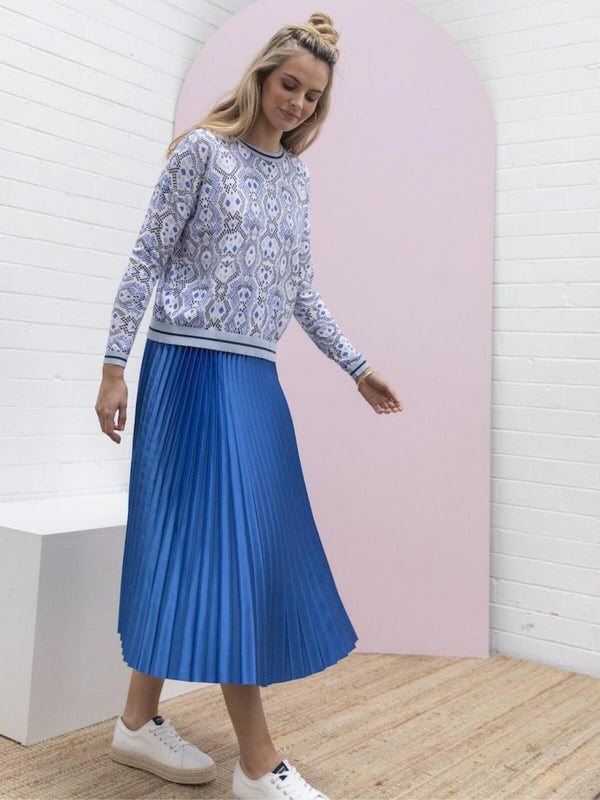Pleated Satin Skirt - Cobalt Skirts Bande Studio