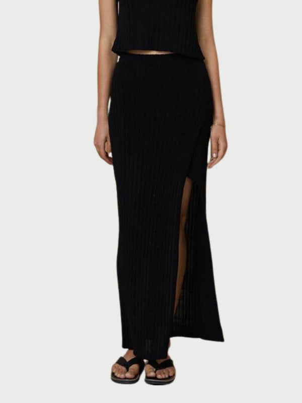 Bec + Bridge Amelie Knit Midi Skirt Black | Perlu