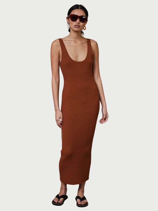 Bec + Bridge Bowie Midi Dress Rust | Perlu